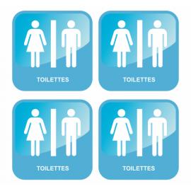 Lot de 4 adhésifs toilettes