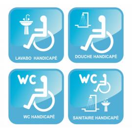 4 adhésifs handicapés wc - douche - lavabo - sanitaire