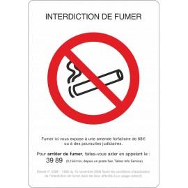 Lot de 10 adhésifs A4 interdiction de fumer
