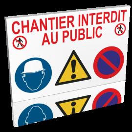 Lot de 10 Panneaux chantier interdit au public