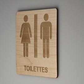 Signalétique en bois toilettes