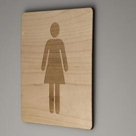 Signalétique bois gravure femme