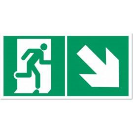 Direction d'une sortie de secours en descendant droite