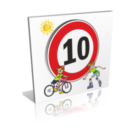 10 KM/H personnages vélo et rollers