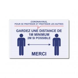 Panneau gardez une distance de 2M minimum