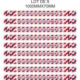 Lot de 9 bandes adhésives sol - Merci de respecter une distance de 2 mètres minimum