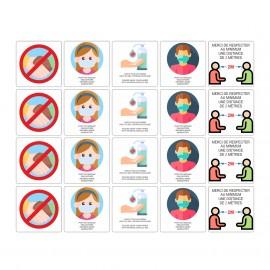 Lot 20 adhésifs prévention pandémie