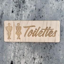 Gravure plaque toilettes sur bois