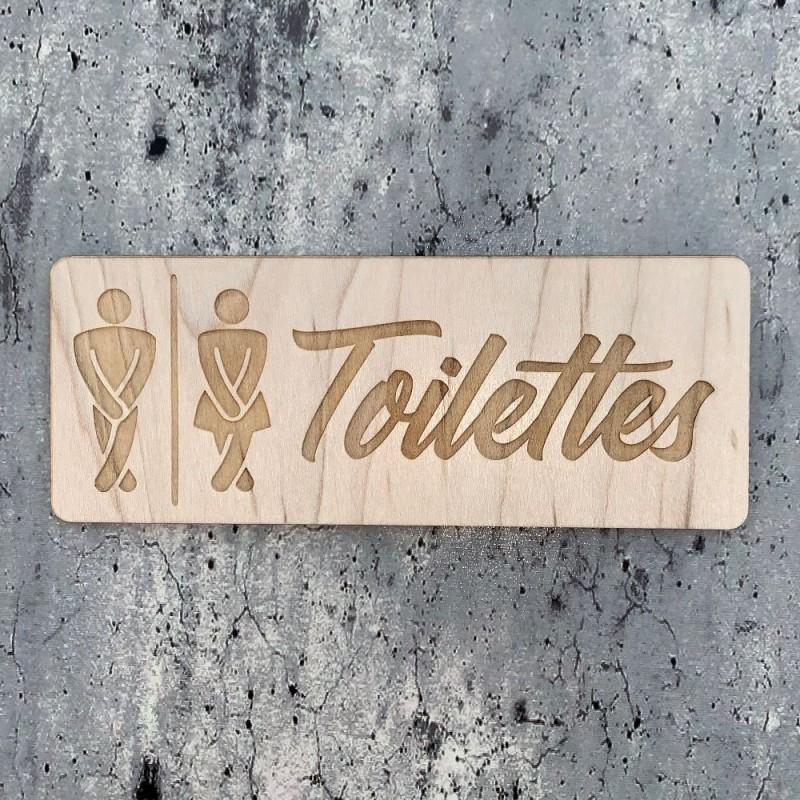 Signalétique bois gravure Toilettes