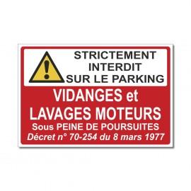 Panneau Vidanges et lavages moteurs - strictement interdit