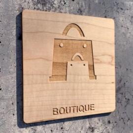 plaque en bois boutique