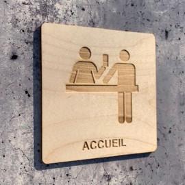 plaque en bois accueil