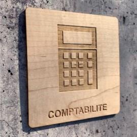 plaque en bois comptabilité