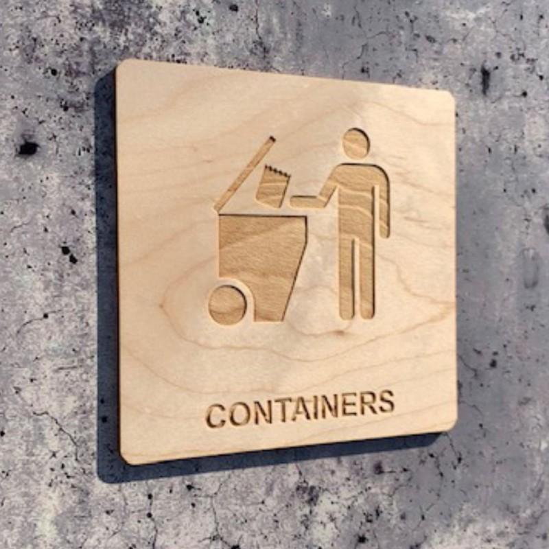 plaque en bois containers