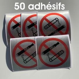 adhésifs interdiction de fumer et de vapoter aluminium brossé