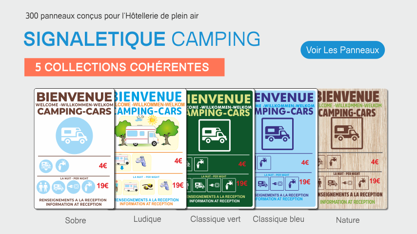 300 panneaux pour les camping et le tourisme